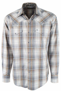 Stetson Gray Desert Ombre Plaid Snap Shirt - Front