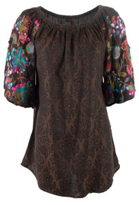 Avani Del Amour Embroidered Jacquard Tunic - Front