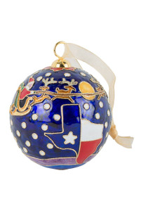 Santa Over Texas Cloisonne Ornament