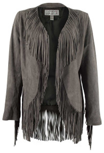 Ryan Michael Fringe Sleeve Suede Jacket - Front