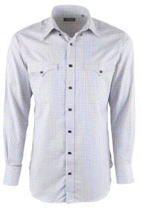 Lyle Lovett for Hamilton Tan with Blue and Ecru Check Twill Shirt - Front