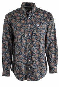 Cinch Navy and Orange Paisley Print Plain Weave Shirt - Front