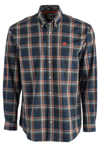Cinch Navy Plaid Plain Weave Shirt - Front