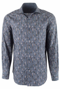 Bugatchi Navy Linear Abstract Shirt - Front
