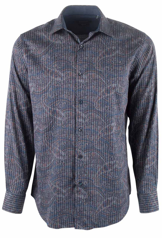 Bugatchi Midnight Linear Paisley Shirt - Front