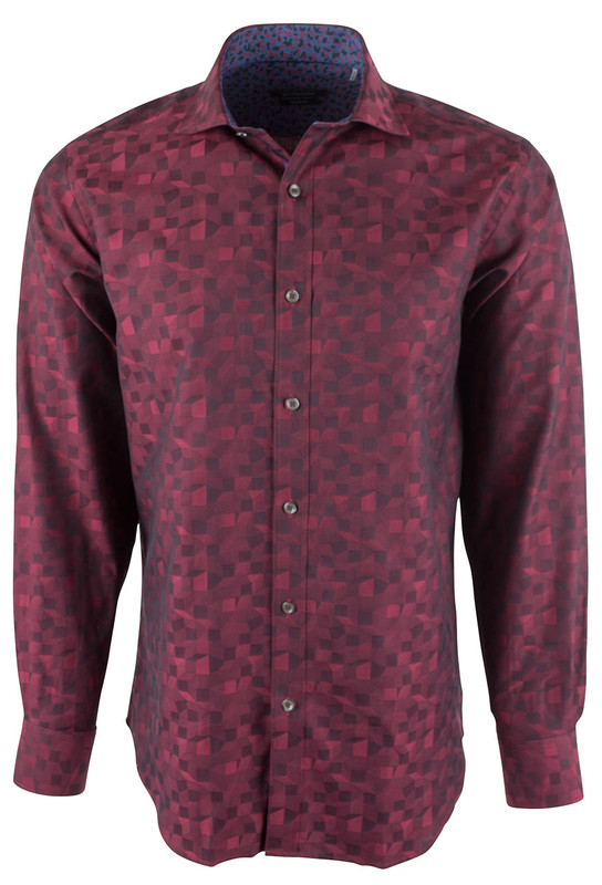 Bugatchi Wine Solid Jacquard Woven Shirt  - Front