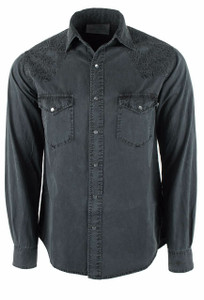 Ryan Michael Scroll Embroidered Snap Shirt - Caviar - Front