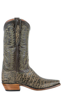 Tony Lama Signature Series Men's Antique Saddle Safari Nile Crocodile Belly Boots  - Side