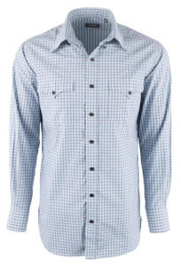 Lyle Lovett for Hamilton Navy with Dusty Aqua and Gray Check Shirt - Front