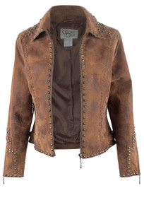 Cripple Creek Studded Leather Jacket - Opened