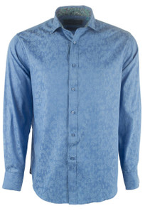 David Smith Australia Solid Royal Blue Jacquard Shirt - Front