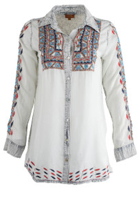 Scully Light Blue Embroidered Top - Front