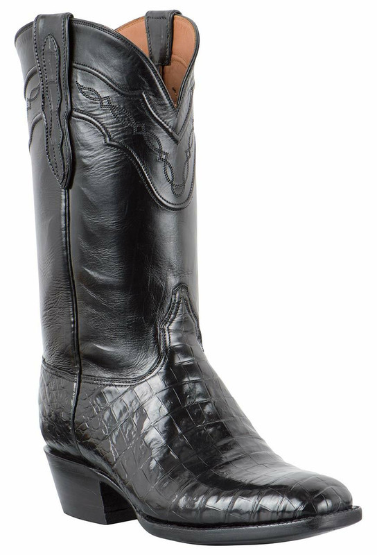 Black Jack for Pinto Ranch Men's Black Select Caiman Belly Boots