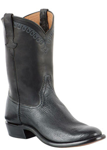 Rios of Mercedes Men's Black Smooth Ostrich Roper Boots with Stitching