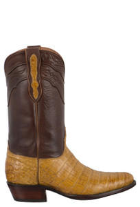Black Jack for Pinto Ranch Men's Burnished Saddle and Tan Select Caiman Belly Boots - Side