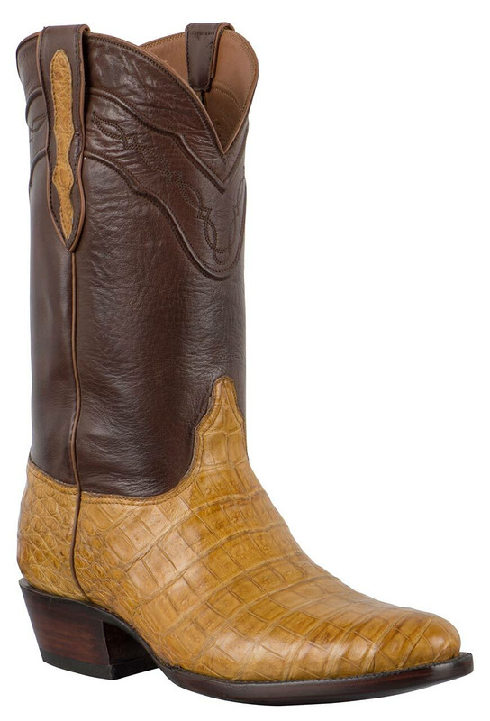 Black Jack for Pinto Ranch Men's Burnished Saddle and Tan Select Caiman Belly Boots