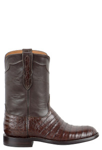 Edit a Product - Black Jack for Pinto Ranch Men's Chocolate Select Caiman Belly Roper Boots - Side