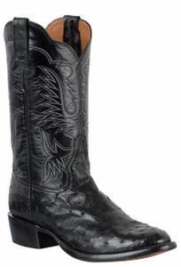 Rios of Mercedes Men's Black Americano Full-Quill Ostrich Boots with Stitching -
