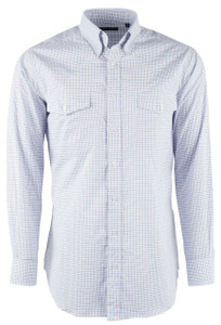 Pinto Ranch YY Collection White with Tan and Blue Check Shirt - Front