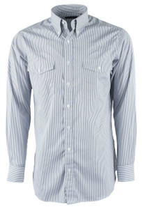 Pinto Ranch YY Collection Black, Gray and White Stripe Poplin Shirt - Front
