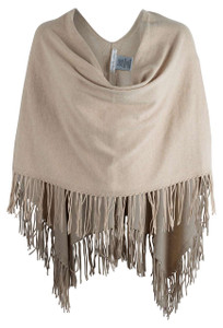 Caroline Grace Cream Trade Winds Fringe Topper - Front