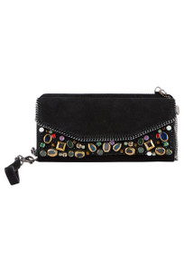 Mary Frances Fractured Embellished Suede Wristlet