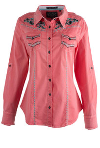 Grace in L.A. Coral Western Shirt - Front