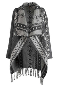 Stetson Gray Aztec Blanket Wrap Cardigan - Front