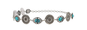 Turquoise and Old Silver Concho Chain Belt