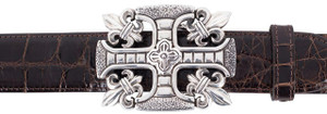 "Jeff Deegan Fleur di Lis Cross 1 1/2"" Trophy Buckle"