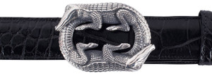 "Jeff Deegan Double Alligator 1 1/2"" Trophy Buckle"