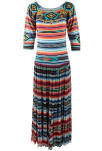 Vintage Sunshine Striped Jewelry Dress - Front