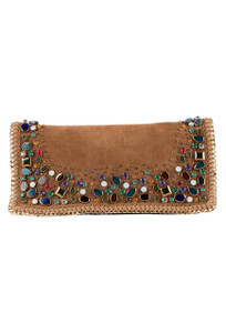 Mary Frances Rambling Stones Embellished Suede Crossbody Handbag