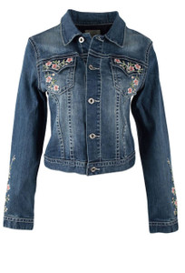 Grace in L.A. Pink Floral Embroidered Denim Jacket - Front