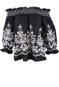 Metric Black and Ivory Embroidered Top