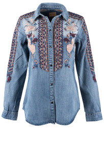 Driftwood Sandy Embroidered Denim Snap Shirt - Front