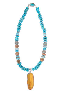 Treasures of the Ozarks Kingman Turquoise and Amber Pendant Neckce - Front