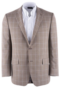 Taupe Windowpane Western Sport Coat - Front