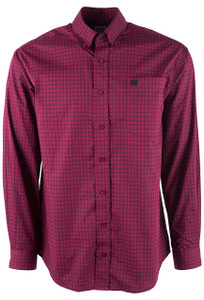 Cinch Cranberry Triangle Print Shirt - Front