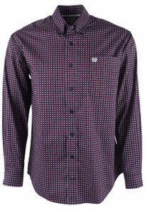 Cinch Navy and Cranberry Foulard Print Shirt  - Front