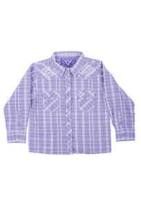 Toddler - Cowgirl Hardware Girls Lavender Heart Plaid Snap Shirt - Front