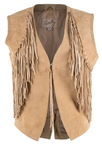 Scully Tan Leather Fringe Vest - Front