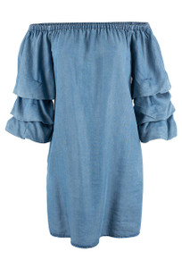 Velvet Heart Denim Karina Cabbage Sleeve Dress - Front