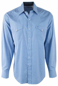 Stetson Blue Linked Geo Print Snap Shirt - Front