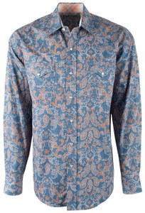 Stetson Blue Checked Paisley Print Snap Shirt - Front