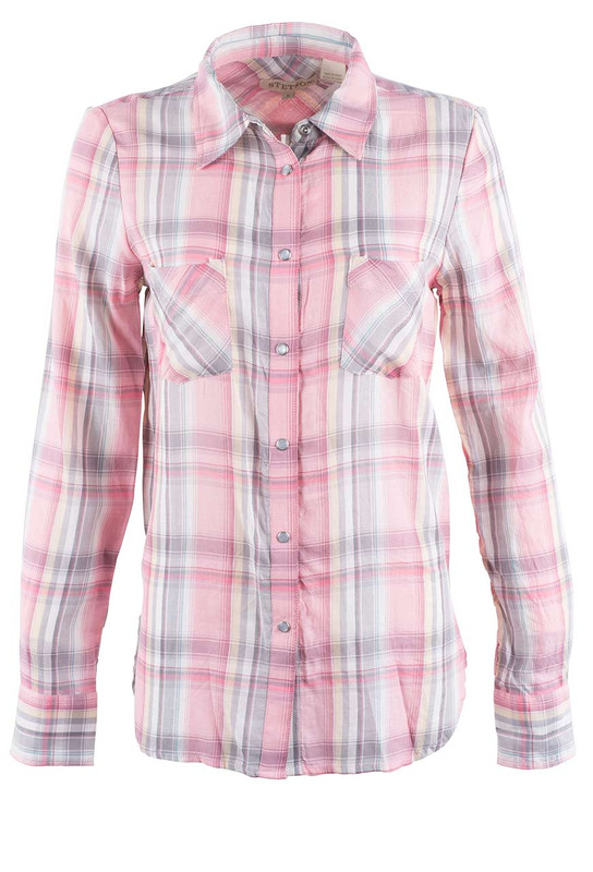 STETSON WOMEN'S BLUSH COTTON PLAID SNAP WESTERN SHIRT