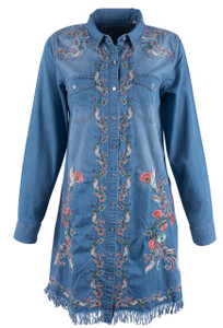 Grace in L.A. Embroidered Denim Shirt Dress