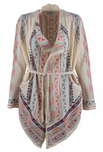 Adore Cream Draped Open Embroidered Cardigan - Front