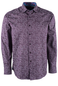David Smith Australia Textured Plum Jacquard Shirt - Front
