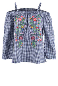 Velvet Heart Langley Indigo Gingham Embroidered Top - Front